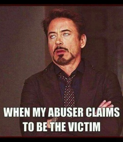 abuser claims to be victim